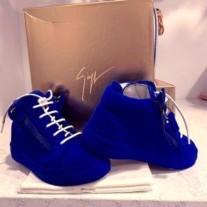 Giuseppe Zanotti kids blue velvet sneakers